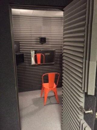Door view of Happy Ears sound booth in Peoria Arizona