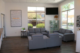 Waiting area view of Happy Ears modern lobby in Surprise Arizona