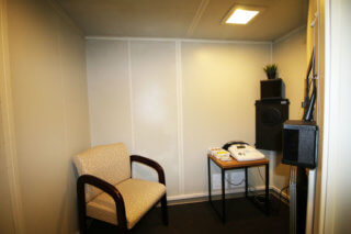Inside view of Happy Ears state-of-the-art sound booth in Mesa Arizona